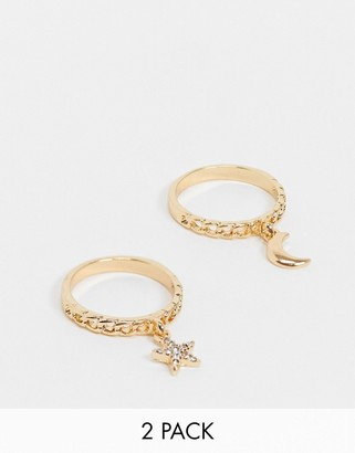 ASOS DESIGN pack of 2 rings with moon and sun charms in gold tone