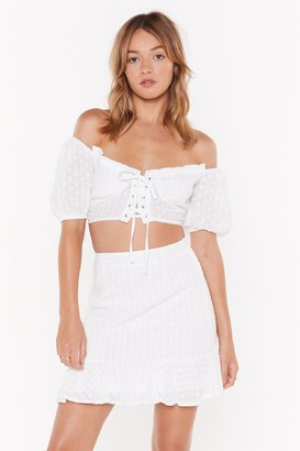Nasty Gal Womens Are You on Broderie Off-the-Shoulder Crop Top - White - 14