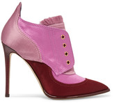 Jimmy Choo Mitsu Fringed Paneled Satin Ankle Boots - Pink