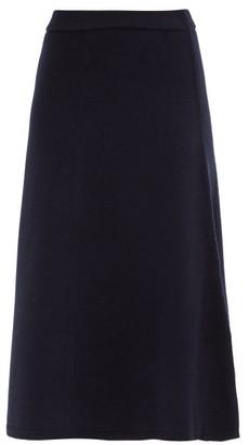 Joseph A-line Wool Knitted Midi Skirt - Navy