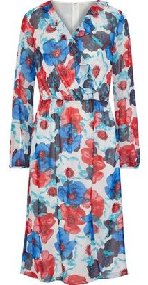 Mikael Aghal Pleated Ruffle-trimmed Floral-print Georgette Dress