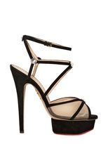 Charlotte Olympia 140mm Isadora Suede & Mesh Sandals