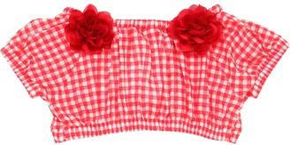 MonnaLisa Gingham Printed Cotton Crop Top