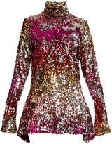 HALPERN High-neck sequin-embellished dress