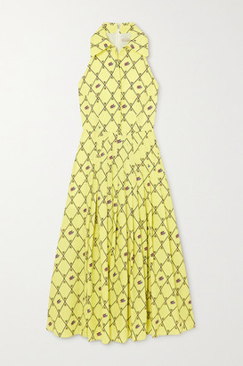 Emilia Wickstead Avalia Pleated Printed Cloque Midi Dress - Light green
