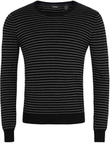 Oxford Striped Crew Neck Knit Blk/Grey X