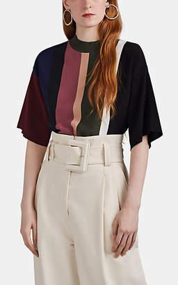 AKIRA NAKA Women's Striped Cotton-Blend Mock-Turtleneck Top - Black
