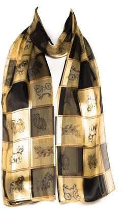 Hat To Socks Black & Gold Check Dog Breed Print Chiffon Satin Ladies Womens Scarf Shawl Wrap