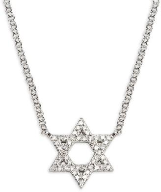 Saks Fifth Avenue 14K White Gold Diamond Star Of David Pendant Necklace