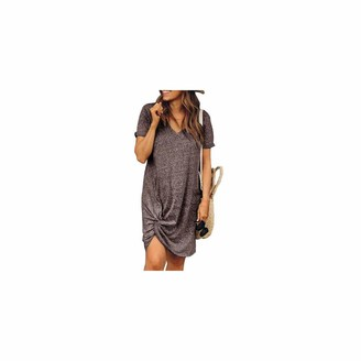LAMUCH Spring Autumn Dress V-Neck Elegant Solid Color Women Loose Dress Knee-Length Daily Wear Straight Dress Coffee