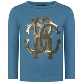 Roberto Cavalli Roberto CavalliBoys Blue Tiger Striped Logo Top