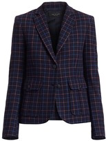 Rag & Bone Nancie Virgin Wool Blend Check Blazer