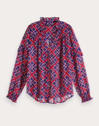 Scotch & Soda Red & Navy Sheer Printed Blouse - XS .