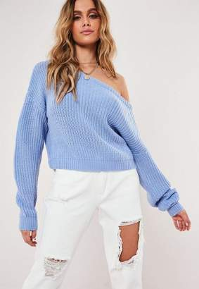 Missguided Tall Blue Crop Off The Shoulder Knit Sweater
