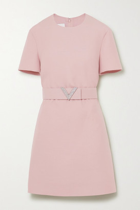 Valentino Crystal-embellished Belted Wool And Silk-blend Crepe Mini Dress - Pink