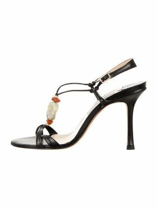 Jimmy Choo Leather Ankle Strap Sandals Black