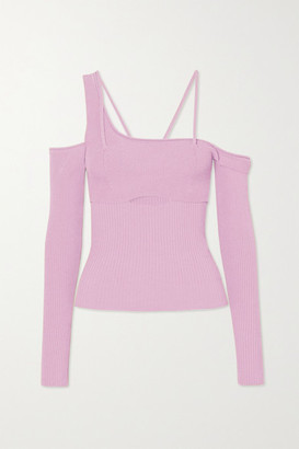 Jacquemus La Maille Cold-shoulder Ribbed-knit Top - Pink