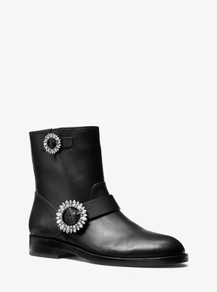 MICHAEL Michael Kors Viola Embellished Leather Moto Boot