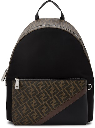 Fendi FF Monogrammed Panelled Backpack