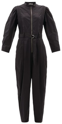 Sea Clara Belted Cotton-blend Jumpsuit - Black