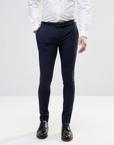 Asos Extreme Super Skinny Smart Trousers In Navy