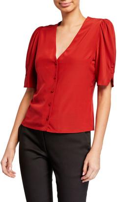 Frame Olivia V-Neck Button-Front Silk Top