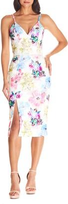 Dress the Population Joelle Floral Print Lace Sheath
