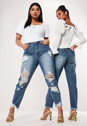 Missguided Plus Size Super Ripped Mom Jeans