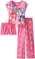 My Little Pony Big Girls' Rainbow Hearts 3-Piece Pajama Set