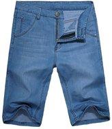 OCHENTA Men's Straight Leg Lightweight Denim Utility Work Jean Short