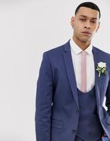 Asos Design DESIGN wedding super skinny suit jacket in stretch cotton in indigo blue