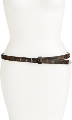 AllSaints Crystal Stud Leopard Print Calf Hair Belt