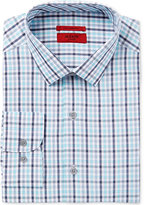 Alfani Men's Fitted Performance Stretch Easy Care Turquoise Grey Large Outline Check Dress Shirt, Only at Macy's