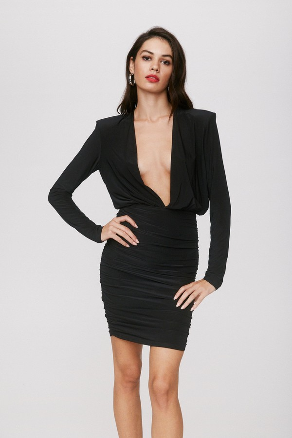 Nasty Gal Womens Slinky Low Cut Ruched Mini Dress - Black - 4