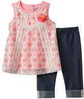 Little Lass Baby Girl Lace Tank Top & Capri Jeggings Set