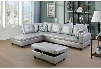 """Ebern Designs Abaan 103.5"""" Faux Leather Sofa & Chaise with Ottoman Orientation: Left Hand Facing, Fabric: Silver White"""