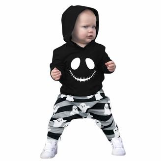 Moent Halloween Cartoon Skull Print Hooded Jacket Pants Set