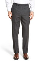 JB Britches Men's 'Torino' Flat Front Windowpane Wool Trousers
