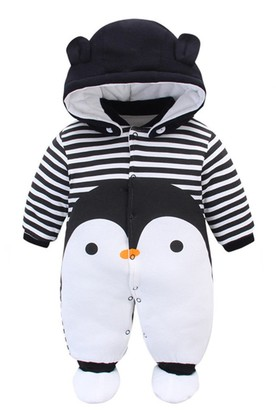 Newborn Infant Baby Hooded Romper Fleece Snowsuit Cartoon Jumpsuit Fall Winter Outfits 0-12M Brown Fairy Baby Baby Snowsuit