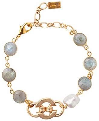 Chan Luu Labradorite Mix of Semi Precious Stones on a Gold Plated Link Bracelet
