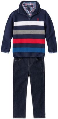 Izod Toddler Boy 3 Piece Striped Sweater, Plaid Shirt & Jeans Set