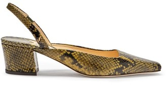 Jimmy Choo Gina 45 Python-effect Leather Slingback Pumps - Khaki Multi