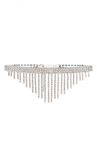 Quiz Silver Diamante Dangle Choker