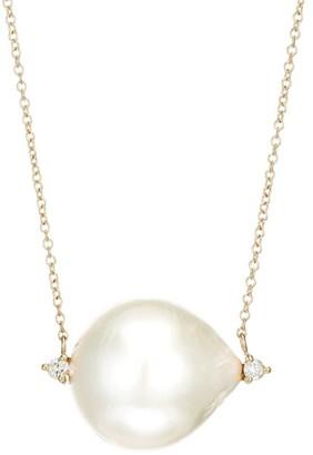 Mizuki Large 14K Yellow Gold, 18MM Freshwater Pearl & Diamond Pendant Necklace
