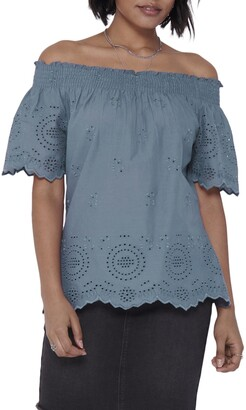 Only Shery Eyelet Off the Shoulder Top