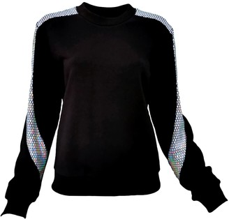 Lalipop Design Black Sweatshirt With Silver Honeycomb Hologram Sequined Details Sleeves