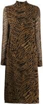 Ganni Tiger Print Midi Dress