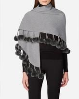 N.Peal Fur Pom Triangular Cashmere Scarf
