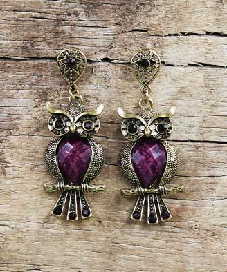 Besheek BeSheek Women's Earrings PURPLE - Purple Rhinestone & Goldtone Antiqued Owl Drop Earrings