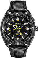 Seiko Mens Black Leather Strap Kinetic GMT Chronograph Sport Watch SUN057